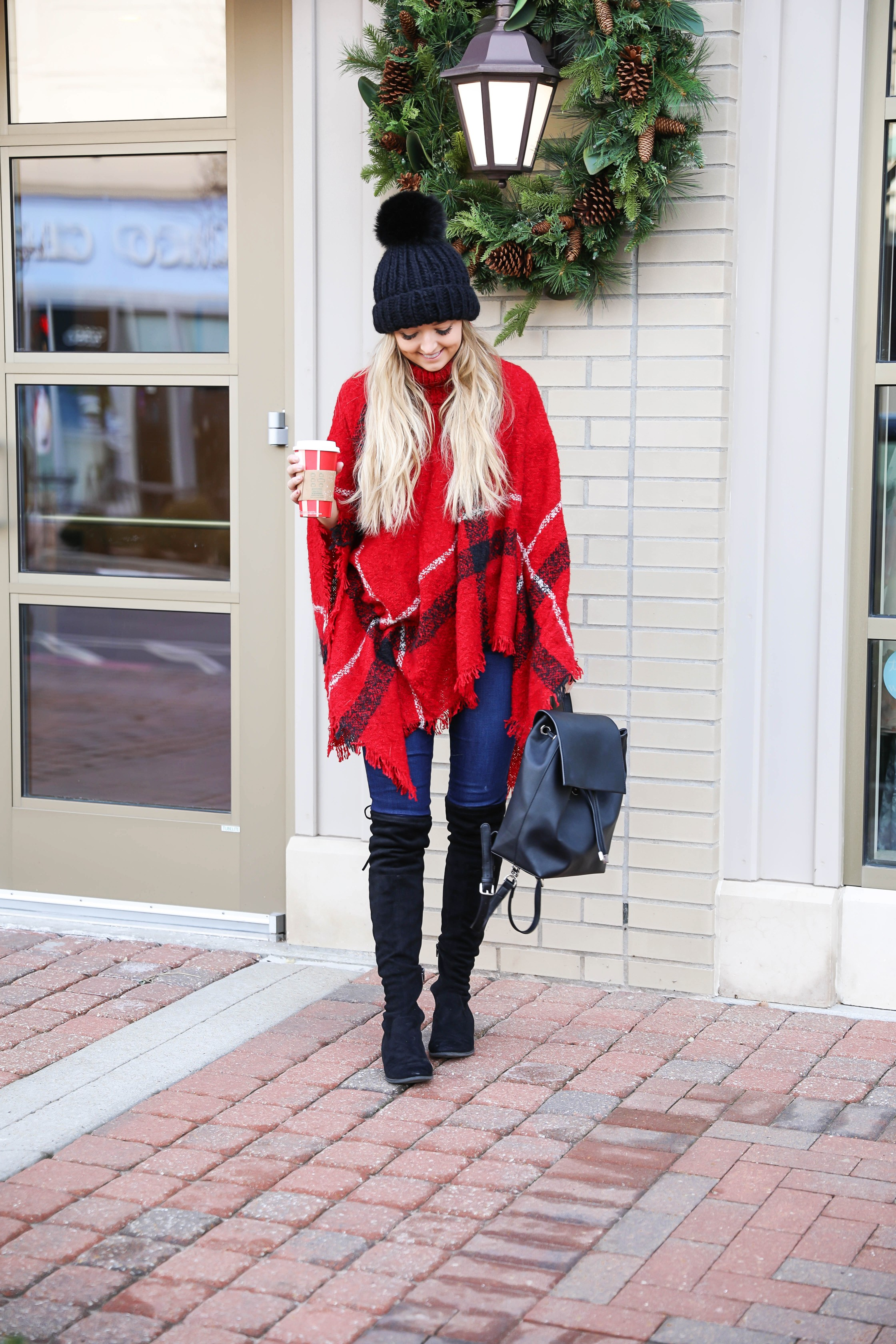 Red plaid Christmas poncho with the cutest turtleneck! I got this cute outfit from the Pink Lily Boutique! I love winter fashion, this holiday outfit would make for a cute Christmas look! Details on the blog daily dose of charm by lauren lindmark