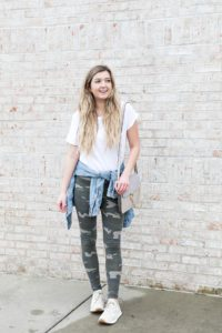 Cute camo leggings paired with a plain white tee and jean jacket! Cute way to style camo leggings, I love this trend! Camouflage is so in and makes of a cute winter outfit! This would also be cute for spring style or any time of year you want a casual look! Details on fashion blog daily dose of charm by lauren lindmark