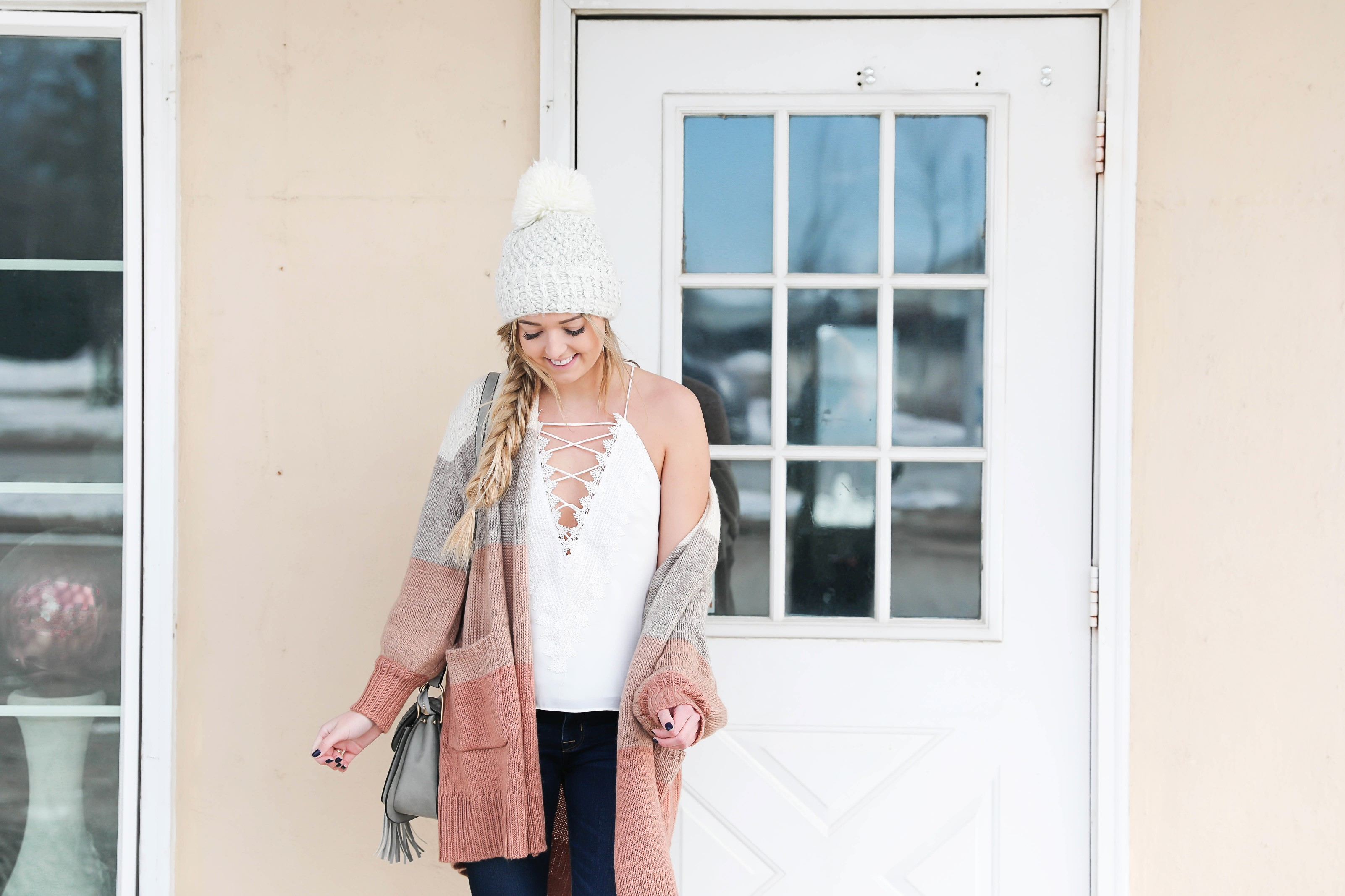 Color block cardigan from target! I am obsessed with all of Target's clothing! I styled it with my favorite Madewell dark jeans, a cute white beanie, and lace cami! I also answer all your questions in this post! Such a fun Q&A! Winter to spring outfit details on the blog daily dose of charm by lauren lindmark