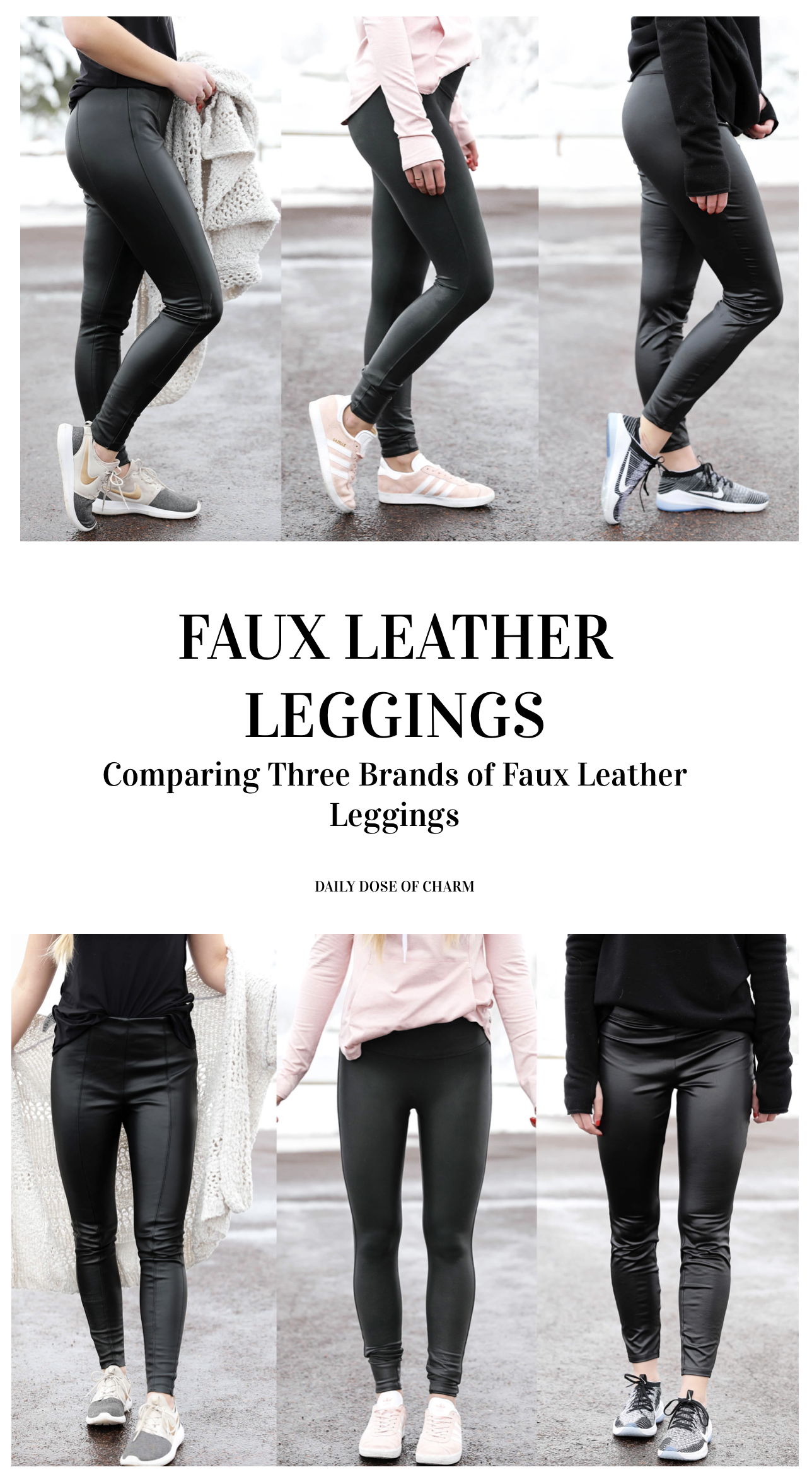 4f1658662e33b0 The best faux leather leggings! Comparing three different brands of faux  leather pants including spanx