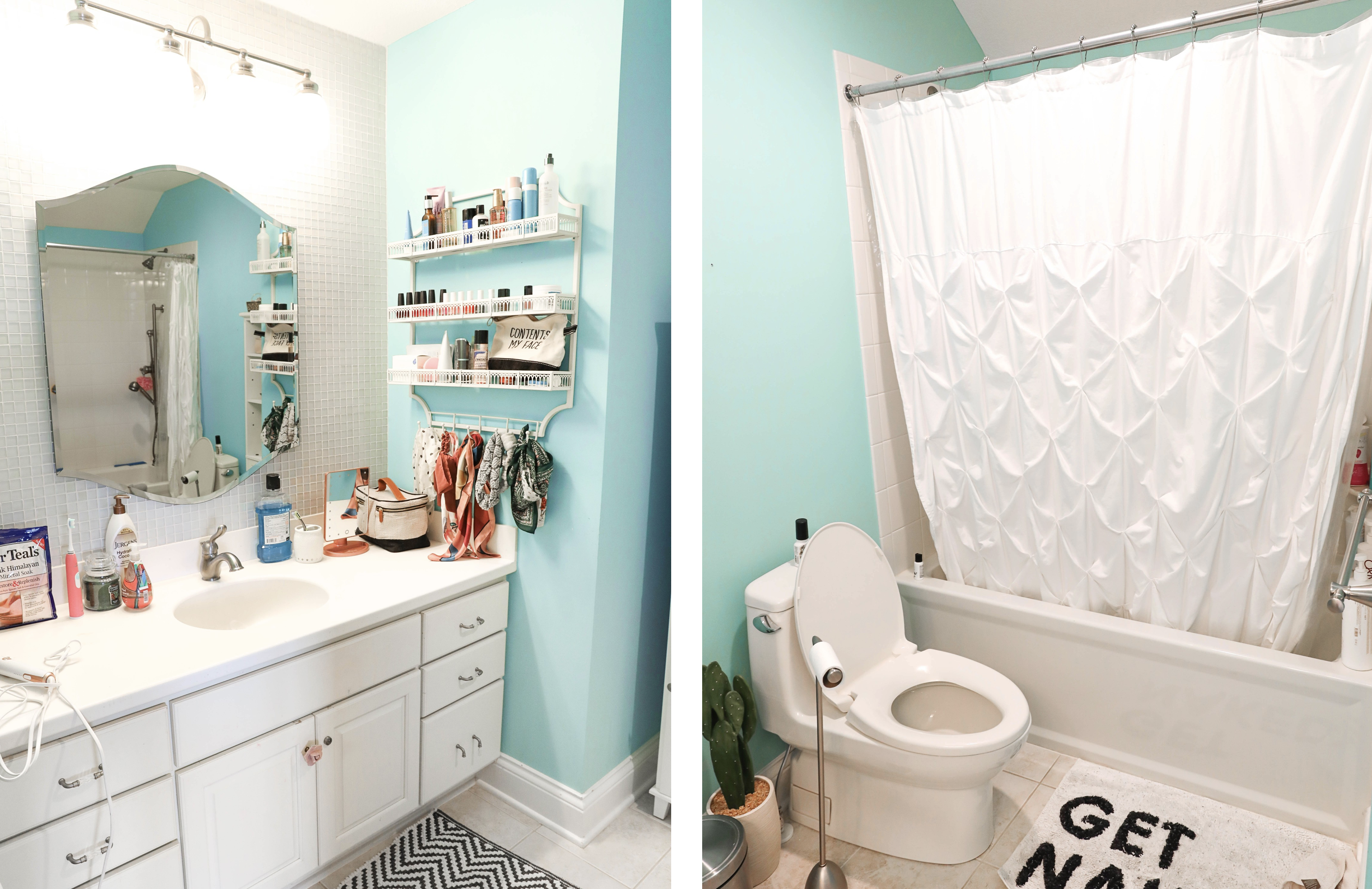 Bathroom transformation! The before photo of this bathroom are horrible, such an ugly blue color! I switched it up with some cute black and white Dalmatian wallpaper! This wallpaper is completely temporary and removable which makes it great for renting! Such a cute interior design post! Cutest black and white bathroom! Details on lifestyle and fashion blog daily dose of charm by lauren lindmark
