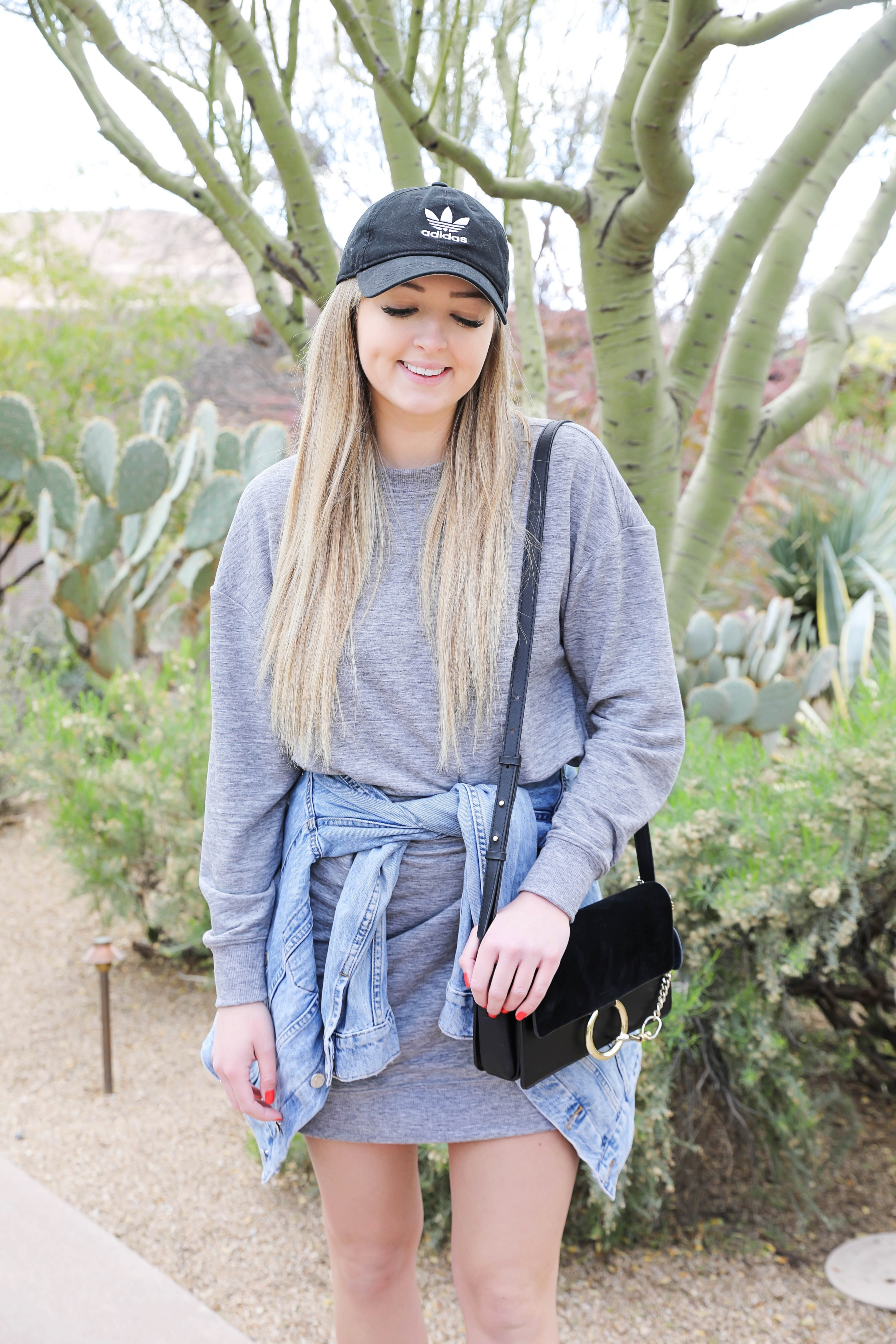 How to style sweatshirt dresses! Casual to dressy! I paired them with leopard hair ties, denim jackets, gucci belts, and more! I love these velour/velvet dress! Details on fashion blog daily dose of charm by lauren lindmark