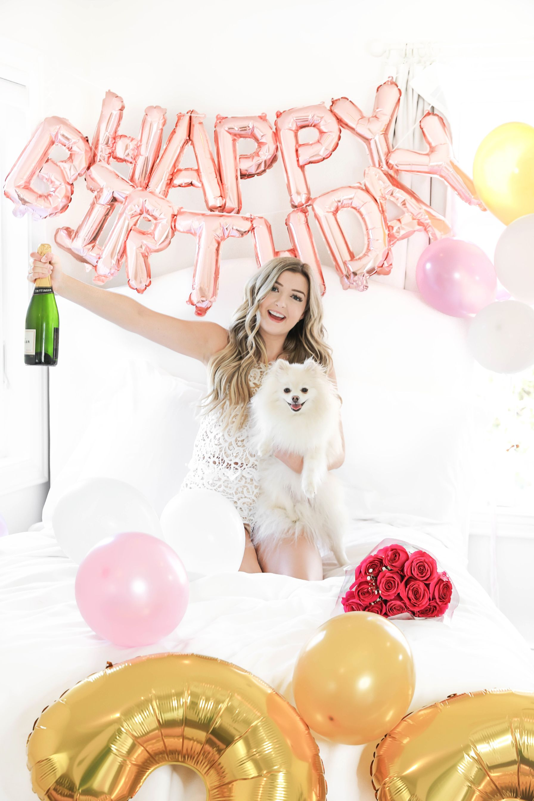 Happy birthday balloons photoshoot in bed with happy birthday blow ups and champagne! Details on fashion blog daily dose of charm by lauren lindmark