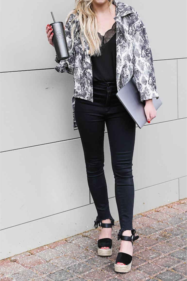 Snake skin jacket chic work look instagram engagement tips fashion blog daily dose of charm lauren lindmark