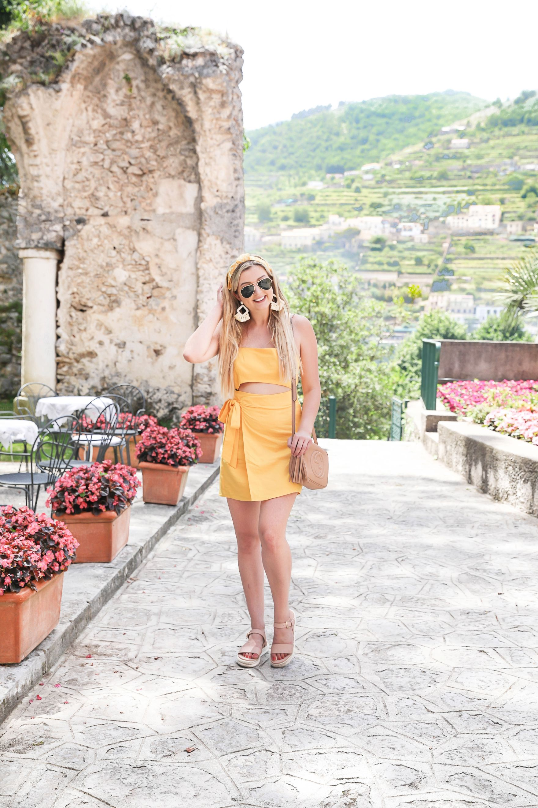 Italy outfit! Yellow forever 21 dress wrap tie dress ravello belmond hotel headband fashion blogger daily dose of charm lauren lindmark