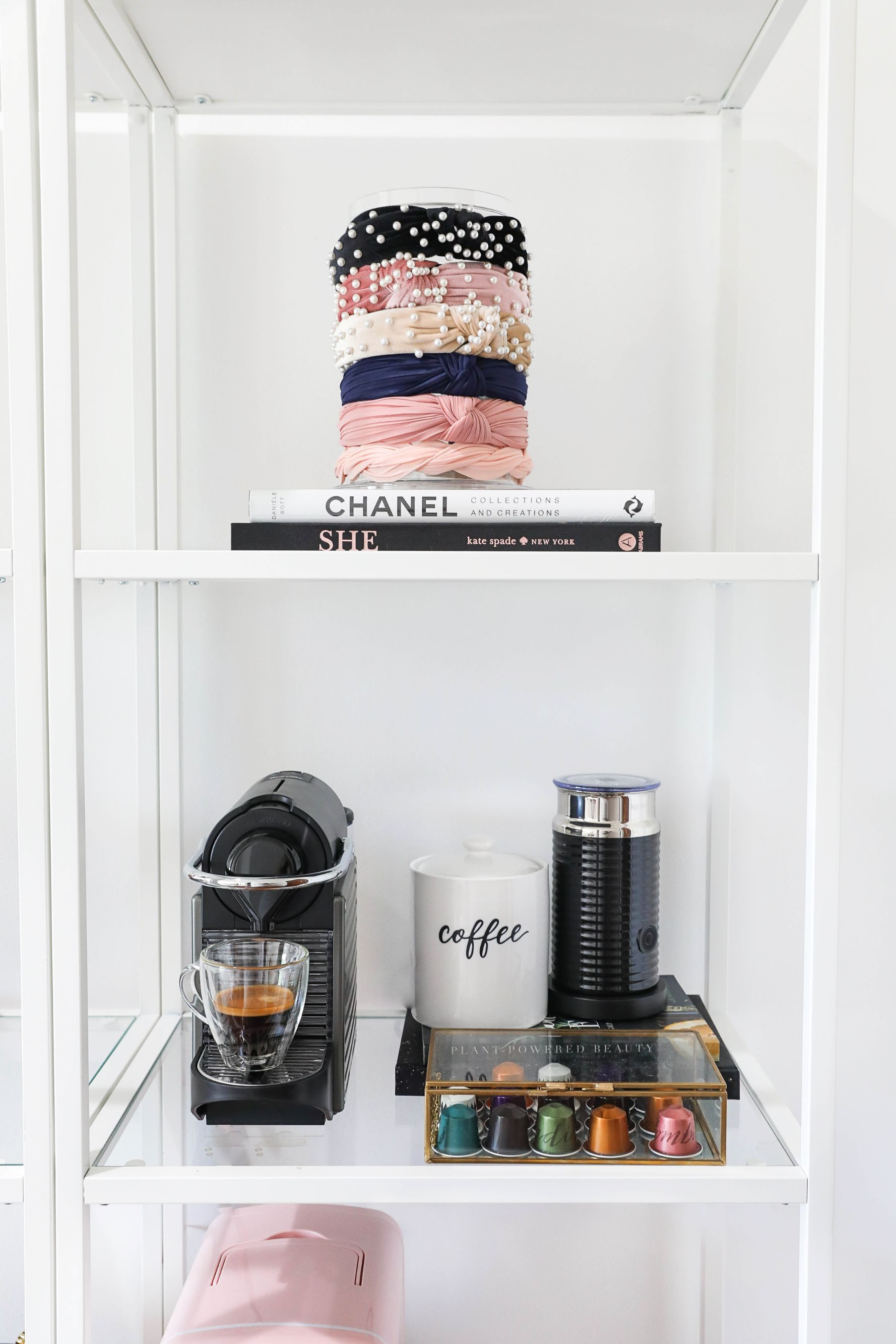 Bookshelf decor Chanel books and headband holders! My relaxing coxy morning routine pomeranian beau nordstrom bedding fashion blog daily dose of charm lauren lindmark