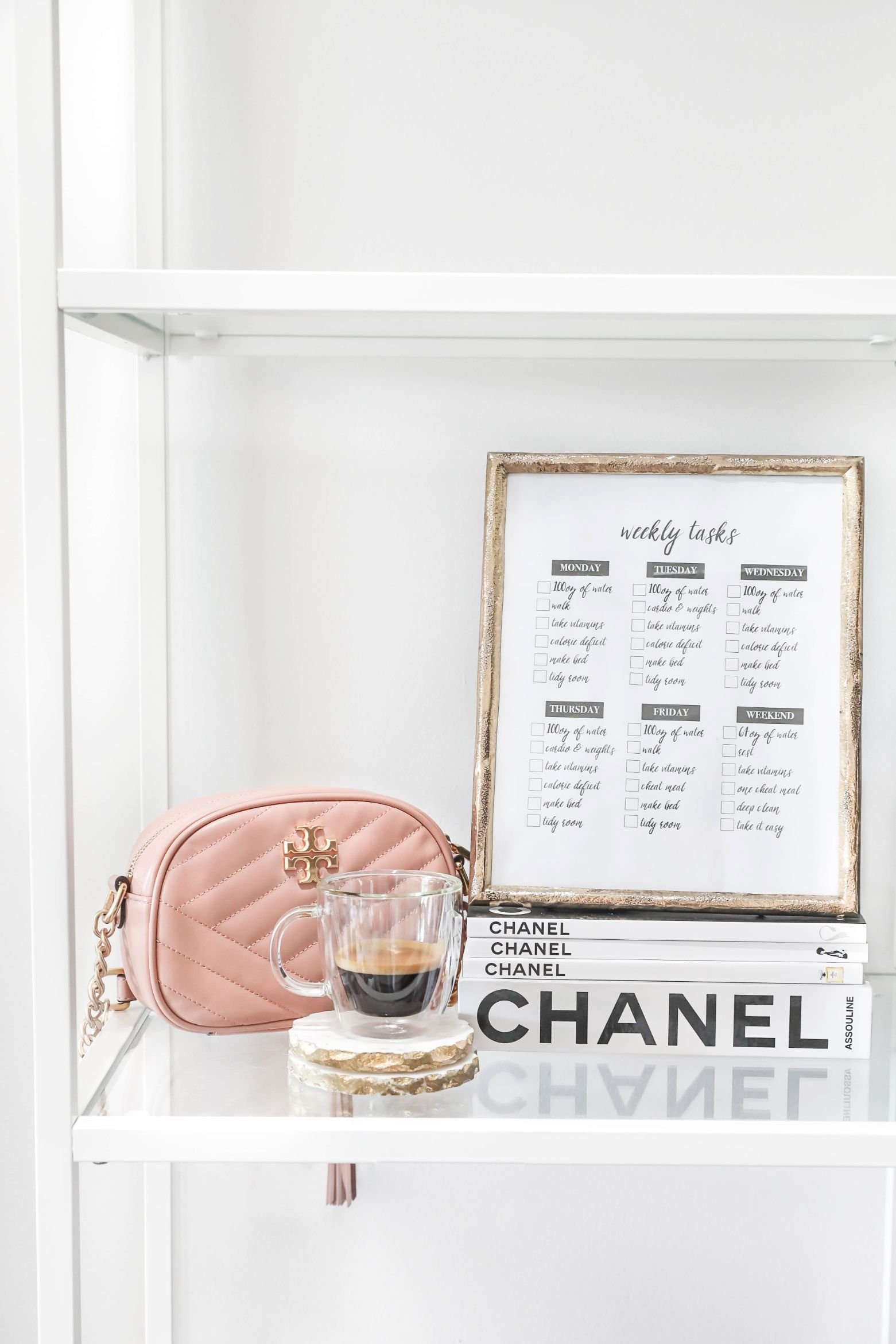 Weekly goals template daily tasks chanel organization boss babe girl fashion blog daily dose of charm