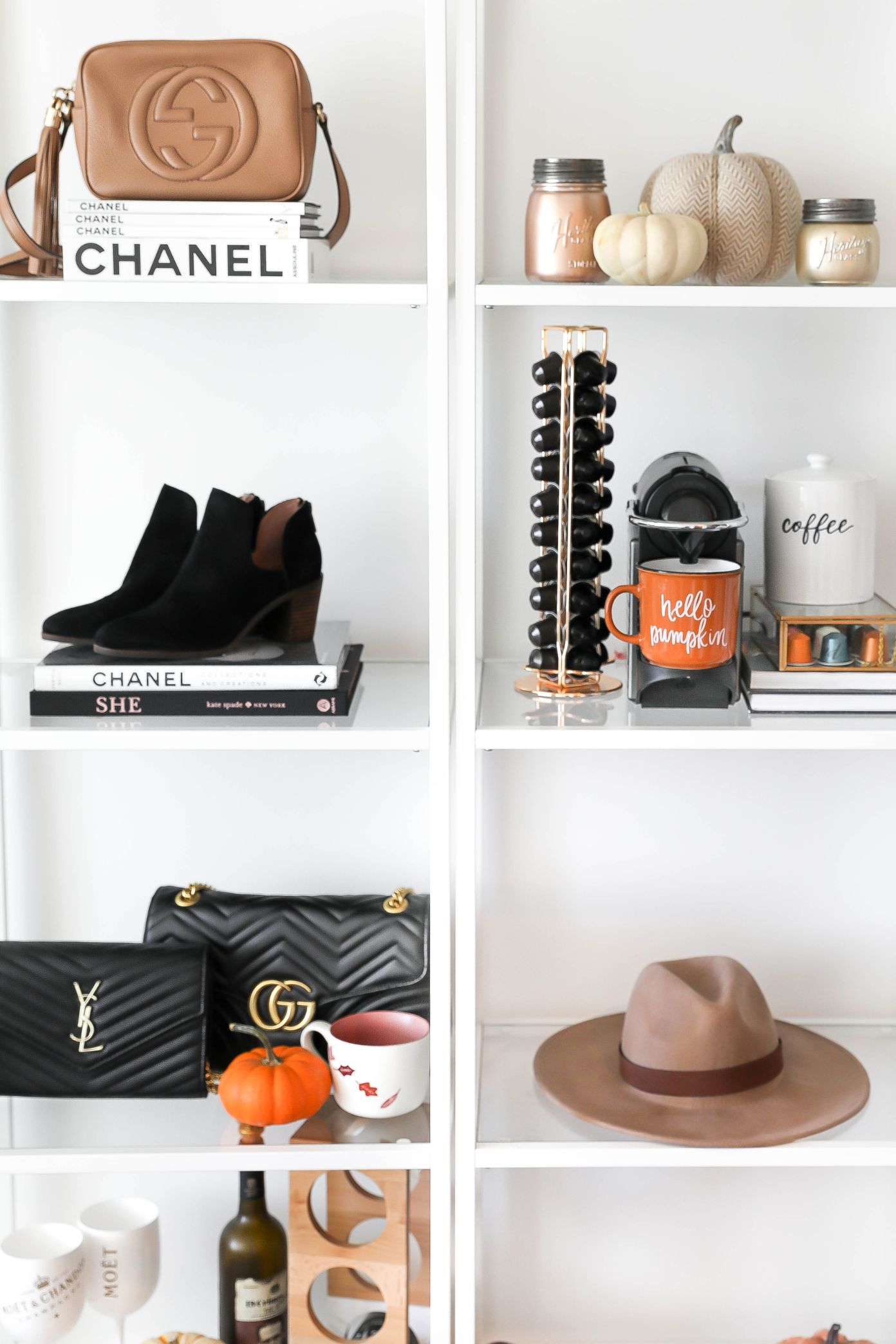 Fall Decor! Cute inspiration for your bar cart or coffee bar! Autumn Decor on Fashion Blog Daily Dose of Charm by Lauren Lindmark