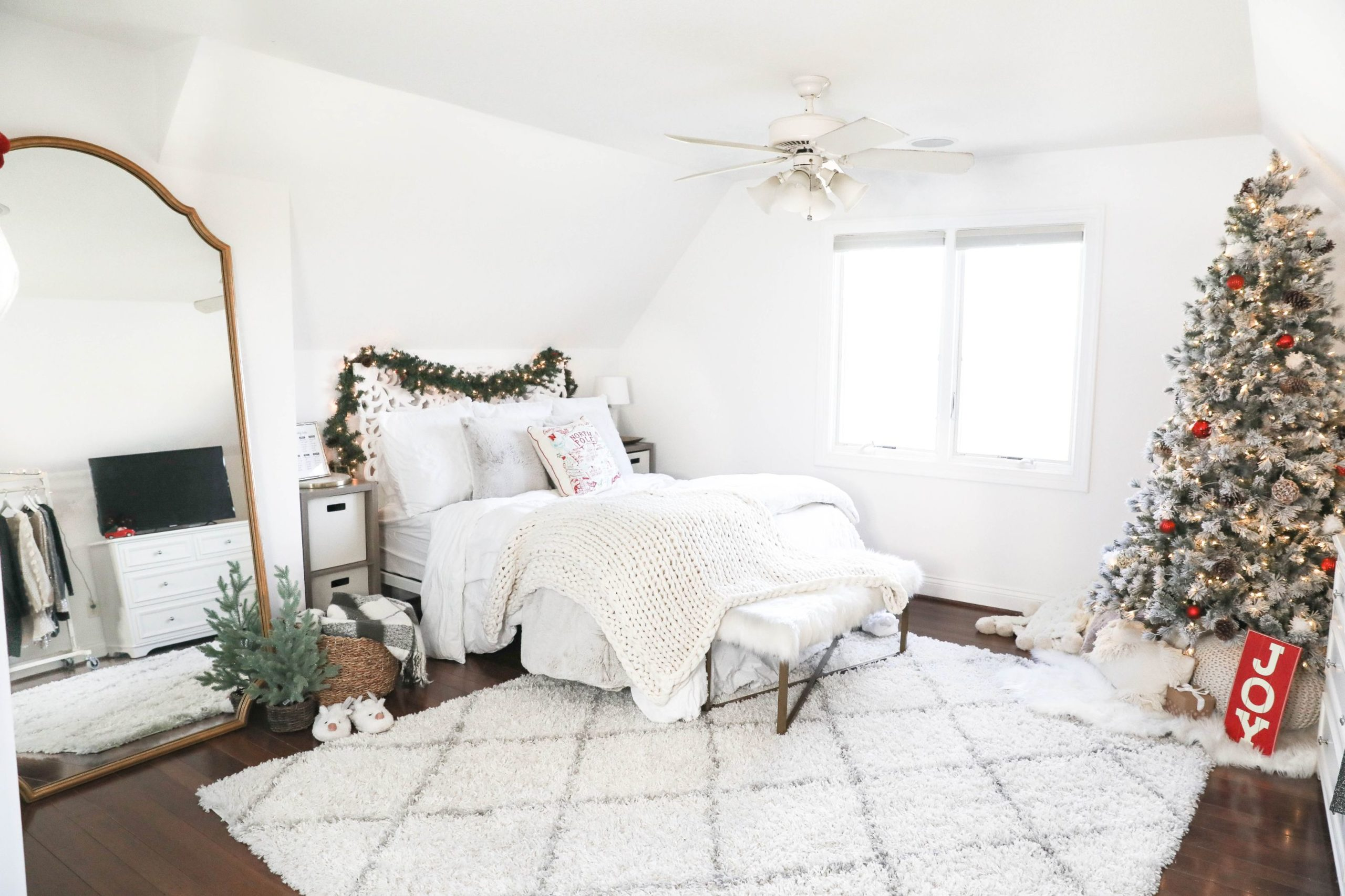 CHRISTMAS ROOM TOUR 2019 Daily Dose of Charm flocked tree home depot holiday decor interior photography Lauren Lindmark