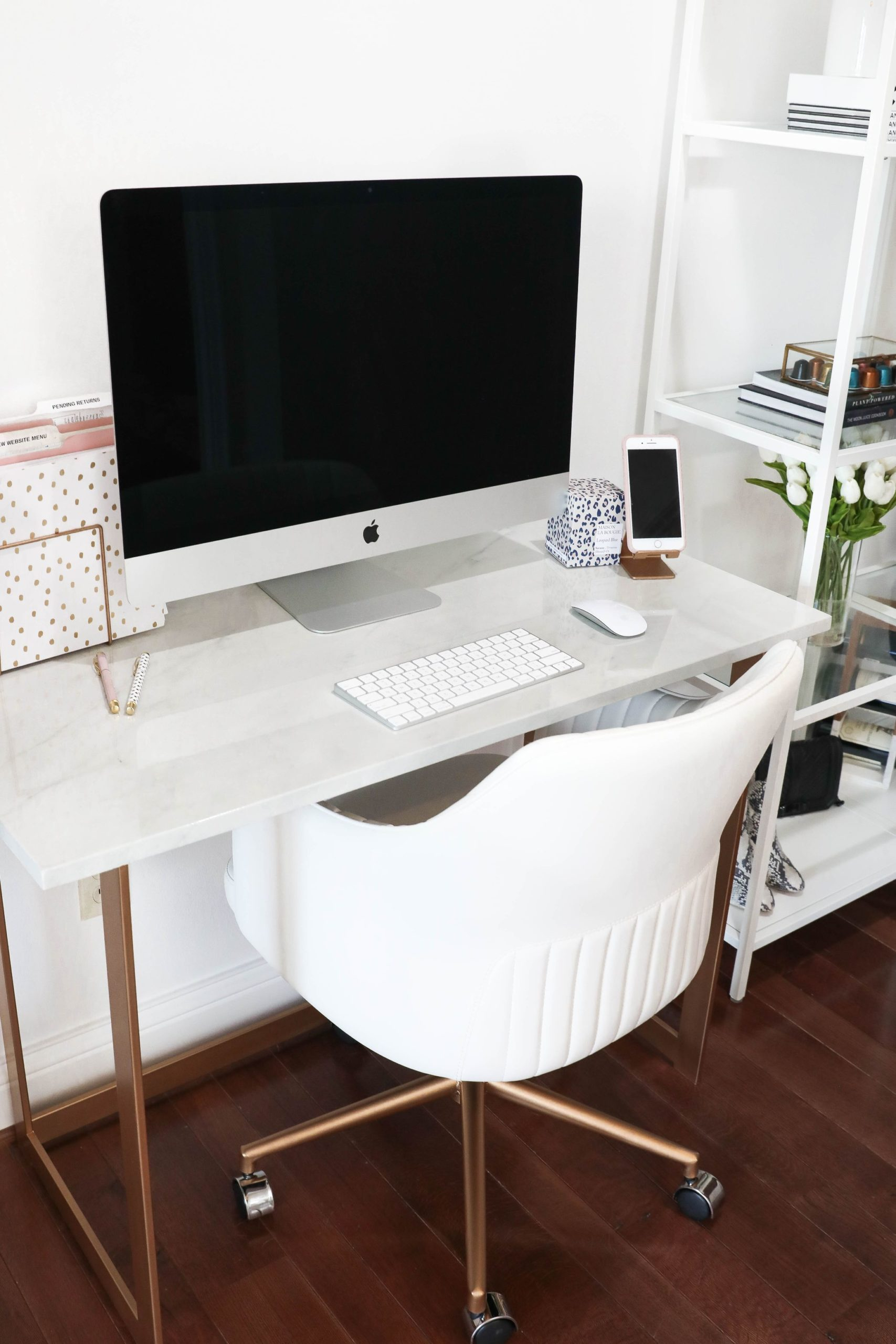 "DESK GOALS! All the details on my ""Marble and Gold Desk"" plus all my office accessories! Details on daily dose of charm by Lauren Lindmark boutique owner of Inspired Boutique"
